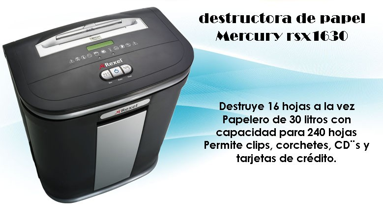 Destructora de papel mercury rsx1630